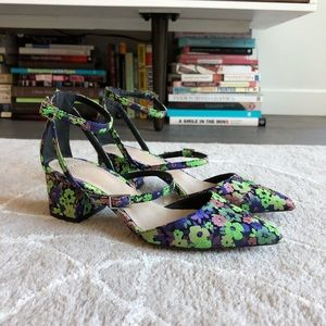 Neon floral pointed flat
